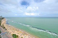 Een mening aan het Recife-stadsstrand Royalty-vrije Stock Afbeeldingen