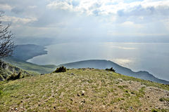 Een mening aan meer Ohrid Stock Fotografie
