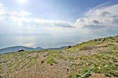 Een mening aan meer Ohrid Stock Foto
