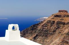 Een mening aan vulkaan in Santorini Stock Foto
