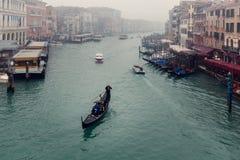 Een mening bij de straten en het water van Venetië van de brug van Stock Foto