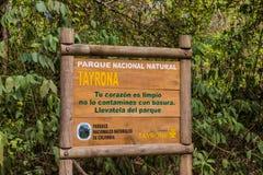 Een mening in het Nationale Park van Tayrona in Colombia stock foto