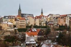 Een mening meer dan historisch deel van Bautzen stad, Saksen royalty-vrije stock afbeeldingen