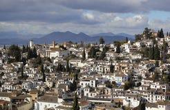 Een mening over Granada van Alhambra Palace in Spanje royalty-vrije stock afbeeldingen