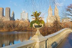Een mening over Manhattan van de Boogbrug in Central Park, de Stad van New York Royalty-vrije Stock Foto