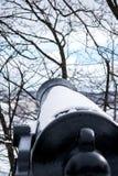 Een mening van achter een oud kanon in de Stad van Quebec stock foto's