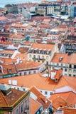 Een mening van Baixa DE Lissabon van Castelo DE São Jorge royalty-vrije stock afbeelding