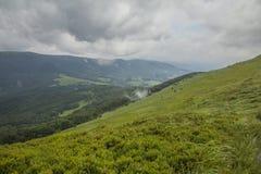 Een mening van Bieszczady-Bergen, Polen - bewolkte hemel en weiden royalty-vrije stock foto's