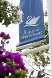 Een mening van Brayford-Pool, Lincoln, Lincolnshire, het Verenigd Koninkrijk - Stock Foto