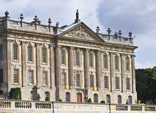 Een mening van Chatsworth Huis, Groot-Brittannië Stock Foto