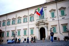 Een mening van de buitenkant van het Quirinal-Paleis in Rome Stock Afbeelding