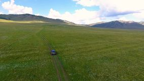 Een mening van de lucht aan groene weiden, heuvels in de afstand en auto berijden off-road in de Republiek van Khakassia stock footage