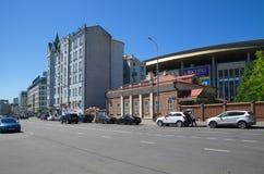 Een mening van de straat Shchepkin in Moskou, Rusland royalty-vrije stock foto's