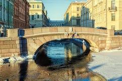 Een mening van de Tweede Zimny-de Winterbrug Stock Fotografie