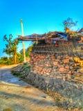 Een mening van dorp in Rajasthan Stock Foto's