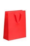 Een mening van een rode het winkelen zak Stock Afbeeldingen