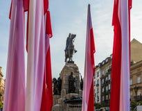 Een mening van het Grunwald-Monument in Krakau Polen stock foto's