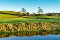 Een mening van het kanaal van Lancaster met een landbouwbedrijfhuis, door twee bomen wordt gegrenst die Royalty-vrije Stock Afbeelding