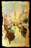 Mening van Venetië op oud document Royalty-vrije Stock Fotografie