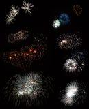 Een mening van het mooie vuurwerk Stock Afbeeldingen