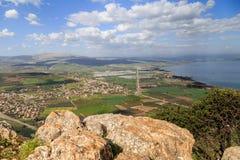 Een mening van het Overzees van Galilee van Onderstel Arbel Stock Foto