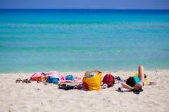 Een mening van het strand Stock Foto's