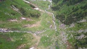 Een mening van het vogel` s oog van het alpiene landschap, een kloof, een bergweg oostenrijk stock footage