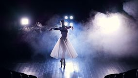 Een mening van hierboven over een dansend ballerina'ssilhouet stock footage
