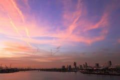 Een mening van Long Beach -jachthaven, Californië van een duri van het cruiseschip Stock Foto