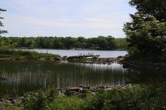 Een mening van een meer met een kleine die sectie door een smalle rotsbrug wordt gescheiden royalty-vrije stock foto