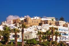 30 06 2016 - een mening van Naxos-Stad Chora Stock Foto