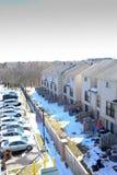 Een mening van onze buur van ons flatgebouw met koopflats royalty-vrije stock afbeelding