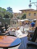 Een mening van Piazza Grande in Arezzo in Italië Stock Foto