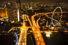 Een mening van stad van dak Marina Bay Hotel op Singapore Stock Fotografie