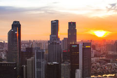 Een mening van stad van dak Marina Bay Hotel op Singapore Stock Afbeelding