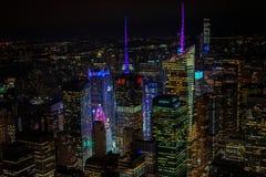 Een mening van tijdvierkant van Empire State Building royalty-vrije stock afbeeldingen
