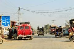 Een mening van verkeer en wegen in Punjab, Pakistan royalty-vrije stock afbeeldingen