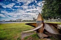 Een mening van Wilmington Noord-Carolina van over de Kaapvrees Ri Stock Afbeeldingen