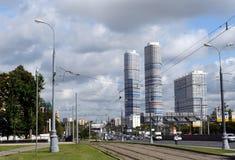Een mening van woon complexe ` Tricolor ` op Prospekt Mira Moscow stock afbeeldingen