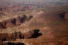 Een mening vanaf de bovenkant van het Nationale Park van Canyonlands in Utah, de V.S. stock afbeeldingen