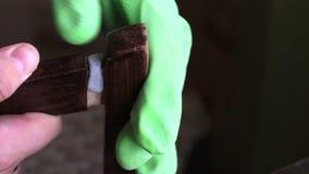 Een mens bereidt een twee-component epoxylijm voor om de stoel te herstellen Hij zet de lijm op zijn plaats lijmend en drukt stev stock video
