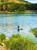 een mens bevindt zich knie-diep in een rivier met een hengel, vissend op een warme de zomerdag stock afbeelding