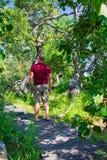 Een mens in Bochtig Bush van Saskatchewan stock afbeeldingen