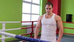 Een mens in de boksring stock video