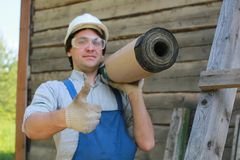 Een mens in de vorm van een bouwer Royalty-vrije Stock Afbeeldingen