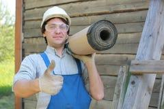 Een mens in de vorm van een bouwer Stock Afbeelding