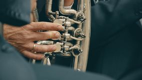 Een mens die de saxofoon langzame geanimeerde video spelen stock video