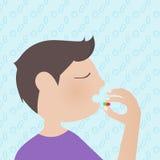 Een mens die een geneeskunde met de medische achtergrond van het pictogrammenpatroon nemen vector illustratie