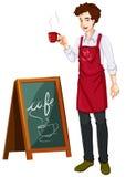 Een mens die in een koffie werken royalty-vrije illustratie