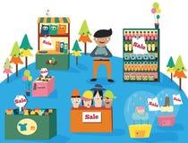 Een mens die in een leuk warenhuis met vele producten winkelen royalty-vrije illustratie
